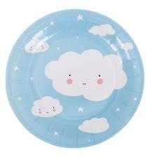 blue paper plate cloud