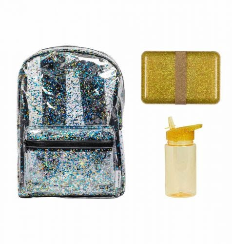 School set: Backpack - Glitter gold