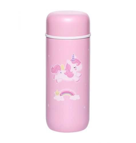Insulated stainless steel drink bottle: Unicorn front