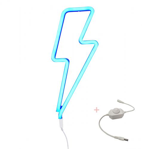 Neon style light: Lightning bolt - blue + dimmer