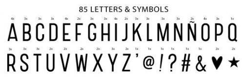 Lightbox letter set: Basic - black