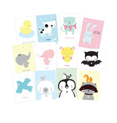 Postcard set: Cute animals