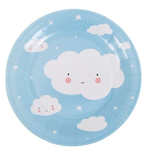 blue paper plate cloud