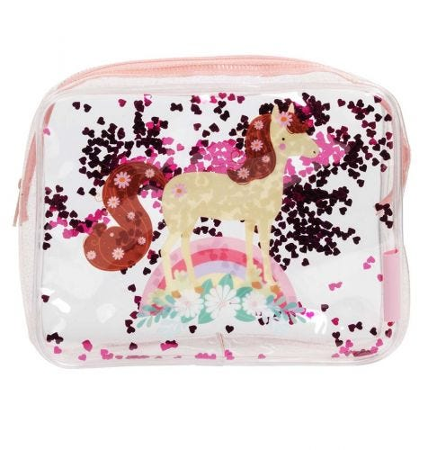 Toiletry bag: Glitter - horse