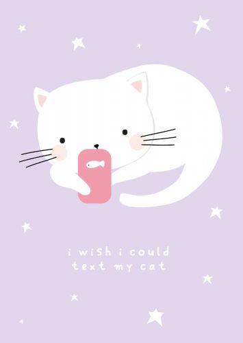 Postcard texting cat